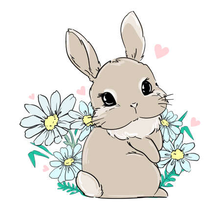 Cute Bunny sits in flowers, daisies. Print for children's textiles, poster design, nursery. Fluffy rabbit tail. Vector illustration.