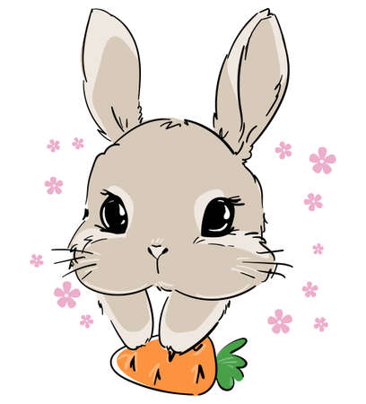 Hand Drawn Rabbit with a carrot. Cute Bunny, Rabbit cute illustration. Print for children's t-shirts.