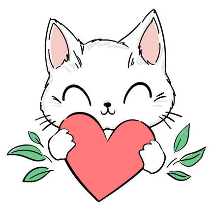 Cute Cat and heart . Print design for textiles, baby clothes, banner. Vector illustration Vettoriali