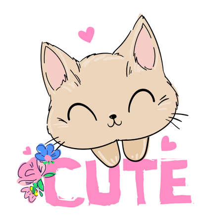 Hand drawn Cute Cat. Print for children's textiles, poster design, nursery. Vector stock.