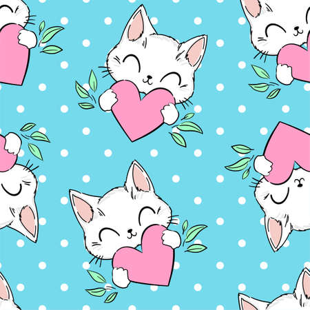 Seamless pattern Cute cat and heart on a blue background.
