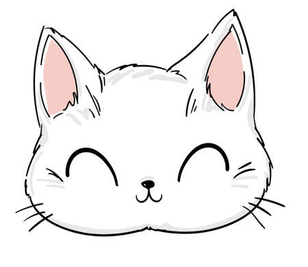 cute Cat sketch vector illustration, print design cat, children print on t-shirt. Hand Drawn Vector cat.