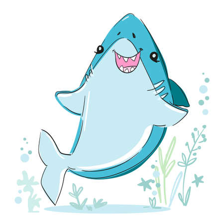 Hand drawn cute shark vector. Sketch fish sea. Childish print design for fabric, t-shirts, poster, background.