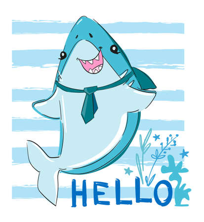 Hand drawn graphic design with Shark. Vector. Sketch fish sea. Childish print design for fabric, t-shirts, poster, background.