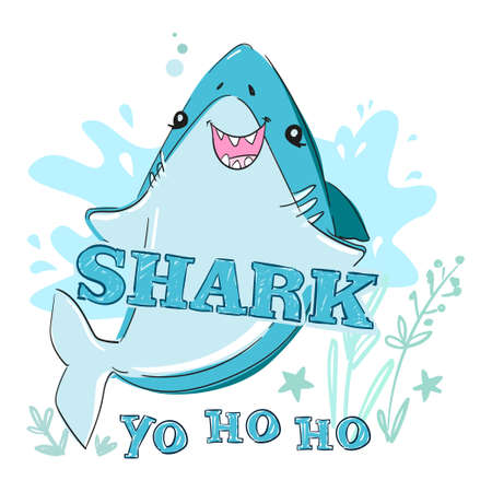 Hand drawn graphic design with shark and inscription - Shark. illustration. Sketch fish sea. Childish print design for fabric, t-shirts, poster, background.