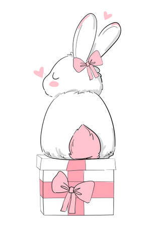 Hand Drawn Cute Bunny and bow, print design rabbit, children print on t-shirt. Gift Box