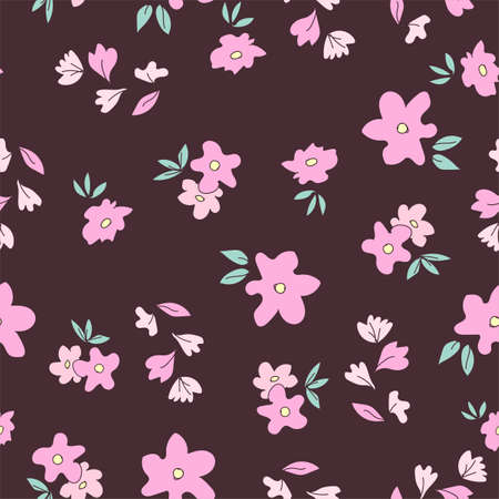 Flowers background print for textile. The drawn flowers beautiful illustration for the fabric. Design ornament pattern seamless. illustration Ilustração