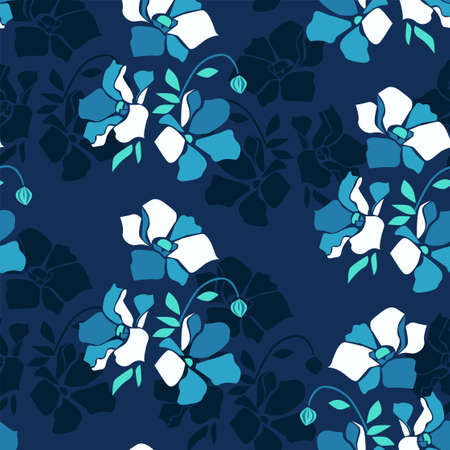 Flowers background print for textile. Cartoon flowers beautiful illustration for the fabric. Design ornament pattern seamless. illustration Ilustração