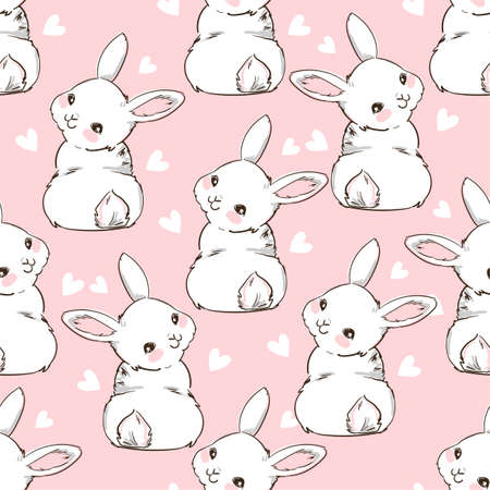 Seamless Pattern Rabbit. Hand Drawn Bunny and heart, print design rabbit background. Seamless. Print Design Textile for Kids Fashion.