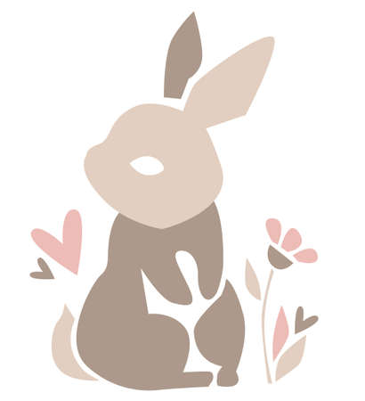Hand Drawn Rabbit. Beautiful Decorative Bunny, Element for design. Contemporary abstract poster design. Vector.
