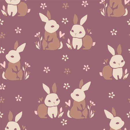 Hand Drawn Rabbit. Beautiful Decorative Bunny, Element for design. Contemporary abstract design print textile. Vector.