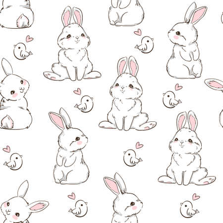 Seamless Pattern Rabbit. Hand Drawn Bunny and a little bird, print design rabbit background. Vector Seamless. Print Design Textile for Kids Fashion.