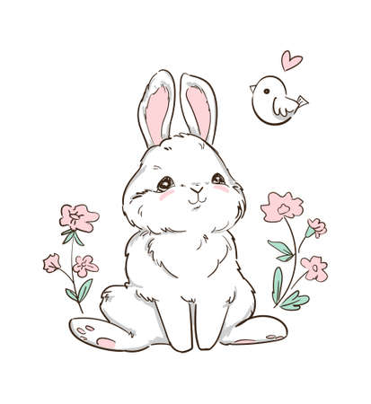 Hand Drawn Bunny and little bird, flowers. Cute Rabbit Vector. Print Design for Kids Fashion. Ilustração