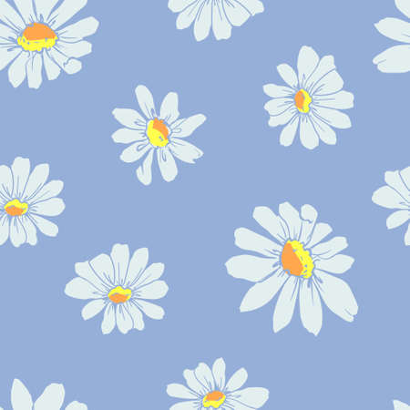 Chamomiles Pattern Vector Illustration, Ink Flowers Seamless