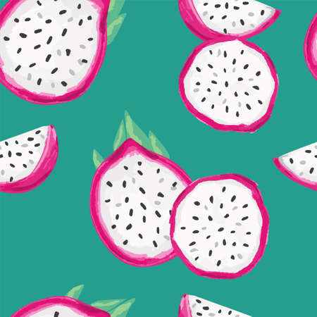 Hand Drawn Pitaya Fruit Illustration. Seamless pattern Red Dragon Fruit background. Trend print for summer textiles. Fashionable pattern.