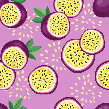 Hand drawn seamless pattern passion fruit. Print design for fashionable textile. Fruit trendy summer fabric.
