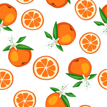 Seamless pattern blooming orange Fruits with leaves and flowers Vector. Trend Fruit Print for textiles.