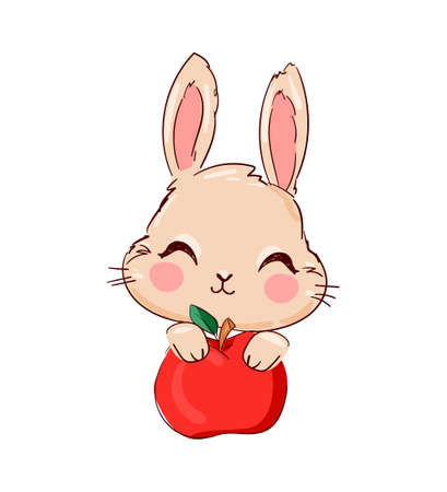 Hand Drawn Cute Bunny and apple, print design rabbit Ilustração