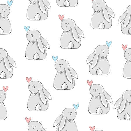 Seamless pattern Rabbit. Beautiful Decorative Bunny Blue Background, Element for design. Print textile.