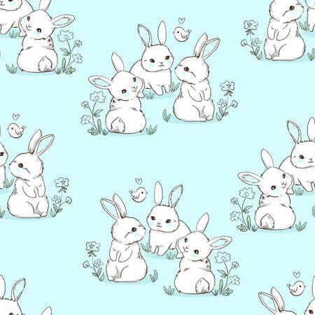 Seamless pattern Rabbit. Beautiful Decorative Bunny Blue Background, Element for design. Contemporary abstract design print textile. Vector. Ilustração