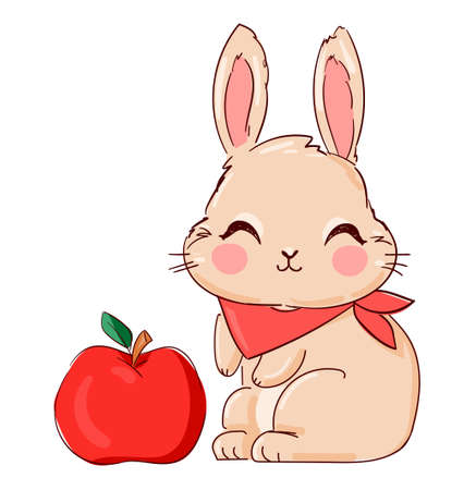 Hand Drawn Cute Bunny and apple, print design rabbit. Vector illustration Ilustração