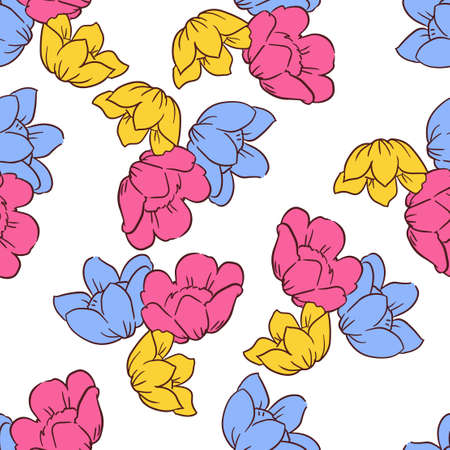 Flowers background print for textile. flowers beautiful illustration for the fabric. Design ornament pattern seamless. Vector.