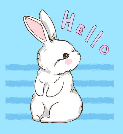 Hand Drawn Cute Bunny, print design rabbit. Vector illustration Ilustração