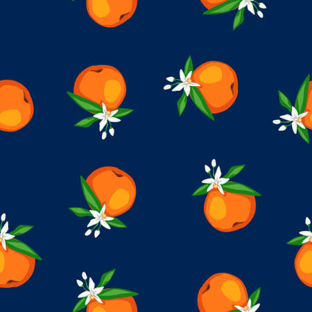 Seamless pattern blooming orange Fruits with leaves and flowers Vector illustration. Trend Fruit Print for textiles. Ilustração
