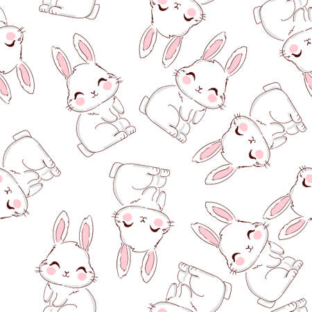 Seamless Pattern Rabbit. Hand Drawn Bunny, print design rabbit background. Vector Seamless. Print Design Textile for Kids Fashion.