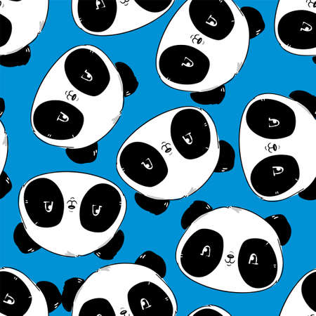 Seamless pattern background with panda bear. Vector illustration. The print for textiles is childish.