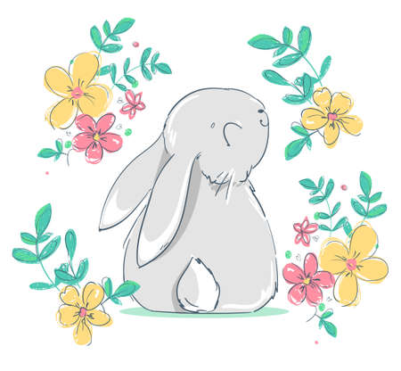 Hand Drawn Cute Bunny and flowers. Print design rabbit. Children Print on t-shirt. Vector