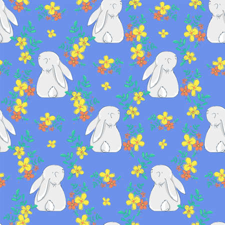 Seamless pattern Rabbit and flowers. Beautiful Decorative Bunny Blue Background, Element for design. Print textile. Vector.