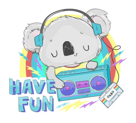Hand drawn cute koala with radio tape recorder and cassette with retro music in headphones on colored background for t-shirt printing vector