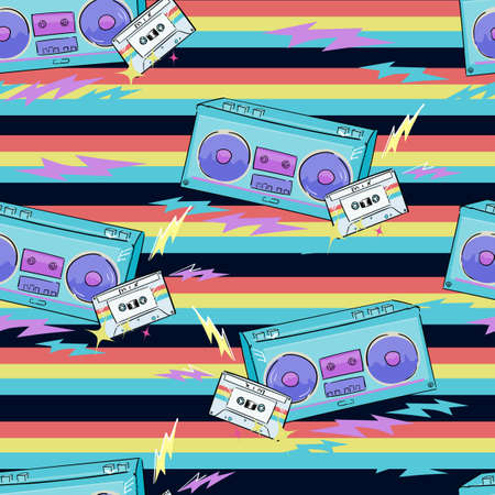 Hand drawn pattern seamless radio tape recorder and cassette with retro music for textile printing vector 向量圖像
