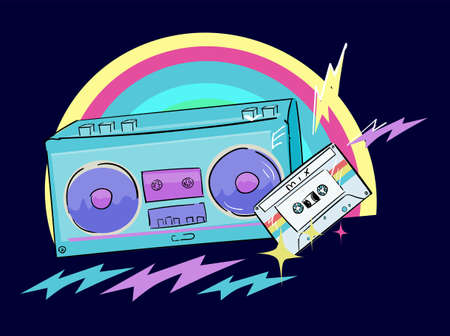 Hand drawn radio tape recorder and cassette with retro music for t-shirt printing vector