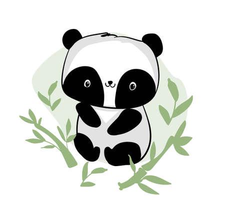 Hand drawn cute panda with bamboo vector Illusztráció