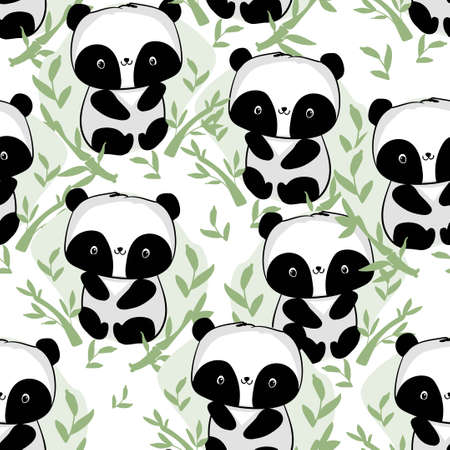 Hand drawn cute panda with bamboo vector seamless pattern print fabric design
