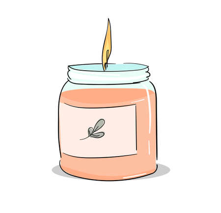 Stylish candle isolated on white background vector