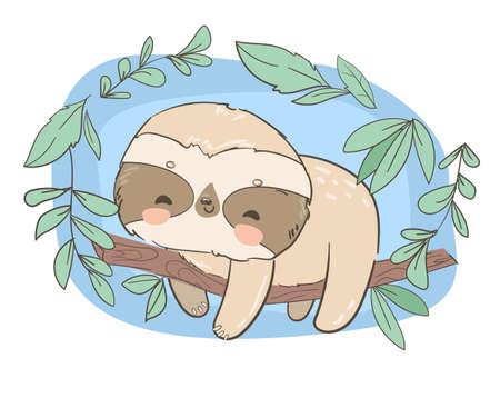 Hand drawn cute animal sloth on the tree illustration Illusztráció