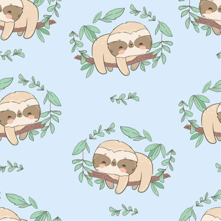 Cute fun sloths on a branch with leaves seamless pattern vector Illusztráció