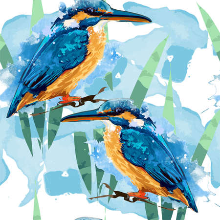 Seamless pattern kingfisher and leaves illustration print fabric Stock fotó