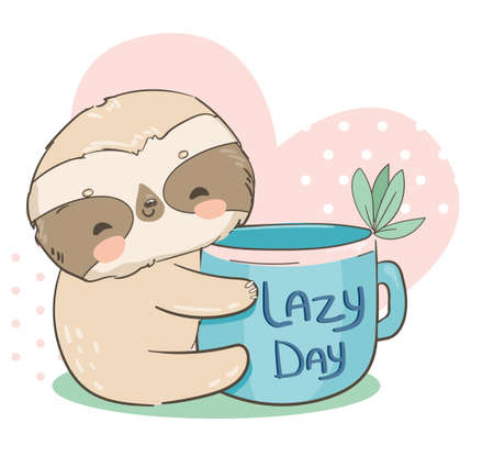 Sloth holding a cup with the inscription lazy day on the background of the heart vector Illusztráció