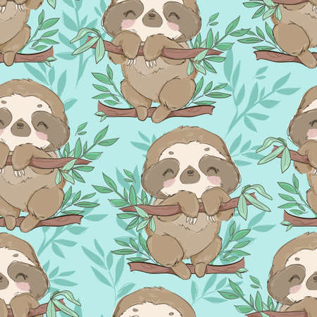 Seamless pattern cute fun sloths on a branch with leaves vector Illusztráció