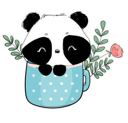 Hand drawn cute panda with cup and succulent and leaves vector