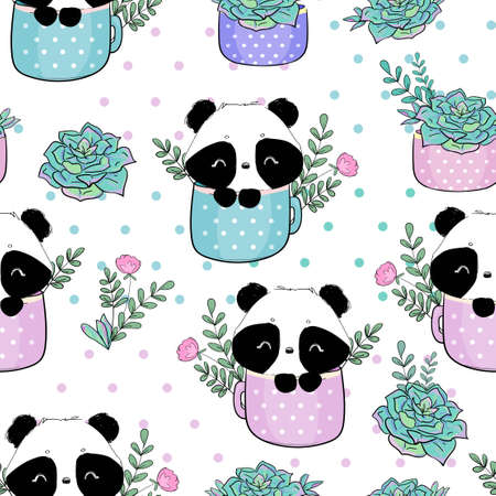 Seamless pattern background with panda with cup and succulent vector