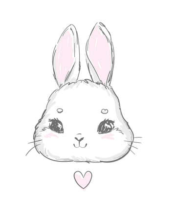 Hand drawn rabbit illustration print for children's t-shirts vector bunny