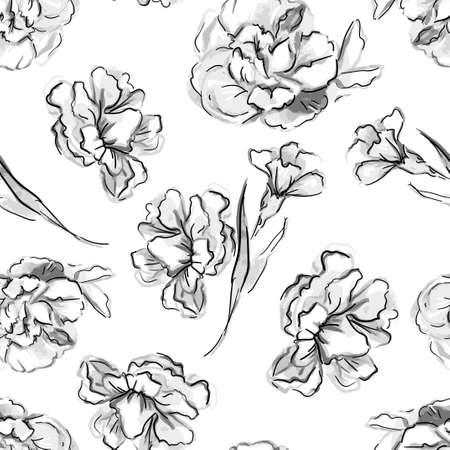 Sketch flowers on a design background for fashionable textile beautiful floral pattern graphic nature print