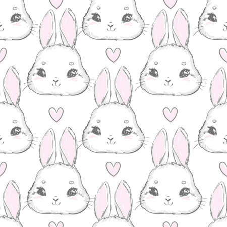 Seamless pattern rabbit hand drawn bunny and heart print design rabbit background vector seamless print design textile for kids fashion Illusztráció
