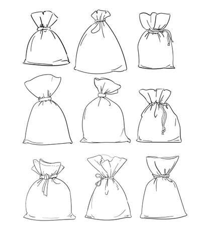 Canvas sack bag set vector illustration