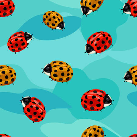 Pattern seamless with red ladybugs illustration